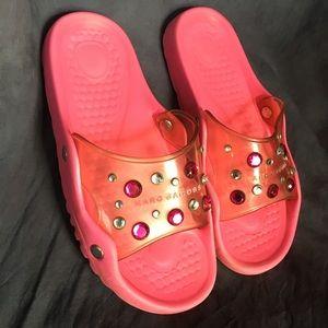 Marc Jacobs Bejeweled Clear Slides Sandals